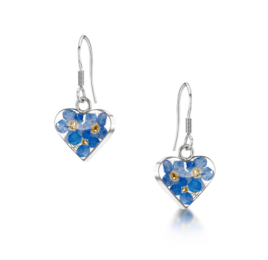 Forget-Me-Not Heart Drop Earrings