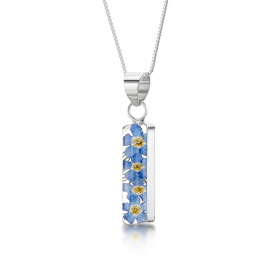 Forget-Me-Not Rectangle Pendant
