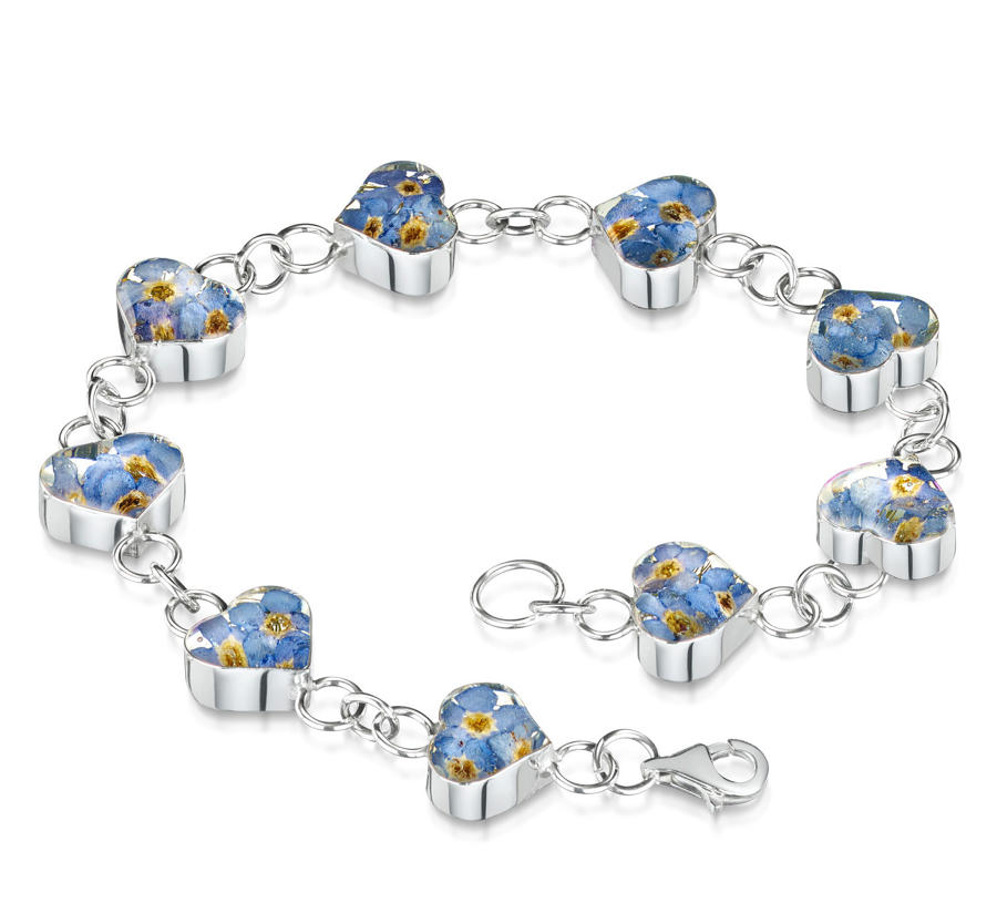 Sterling Silver Forget-Me-Not Heart Bracelet