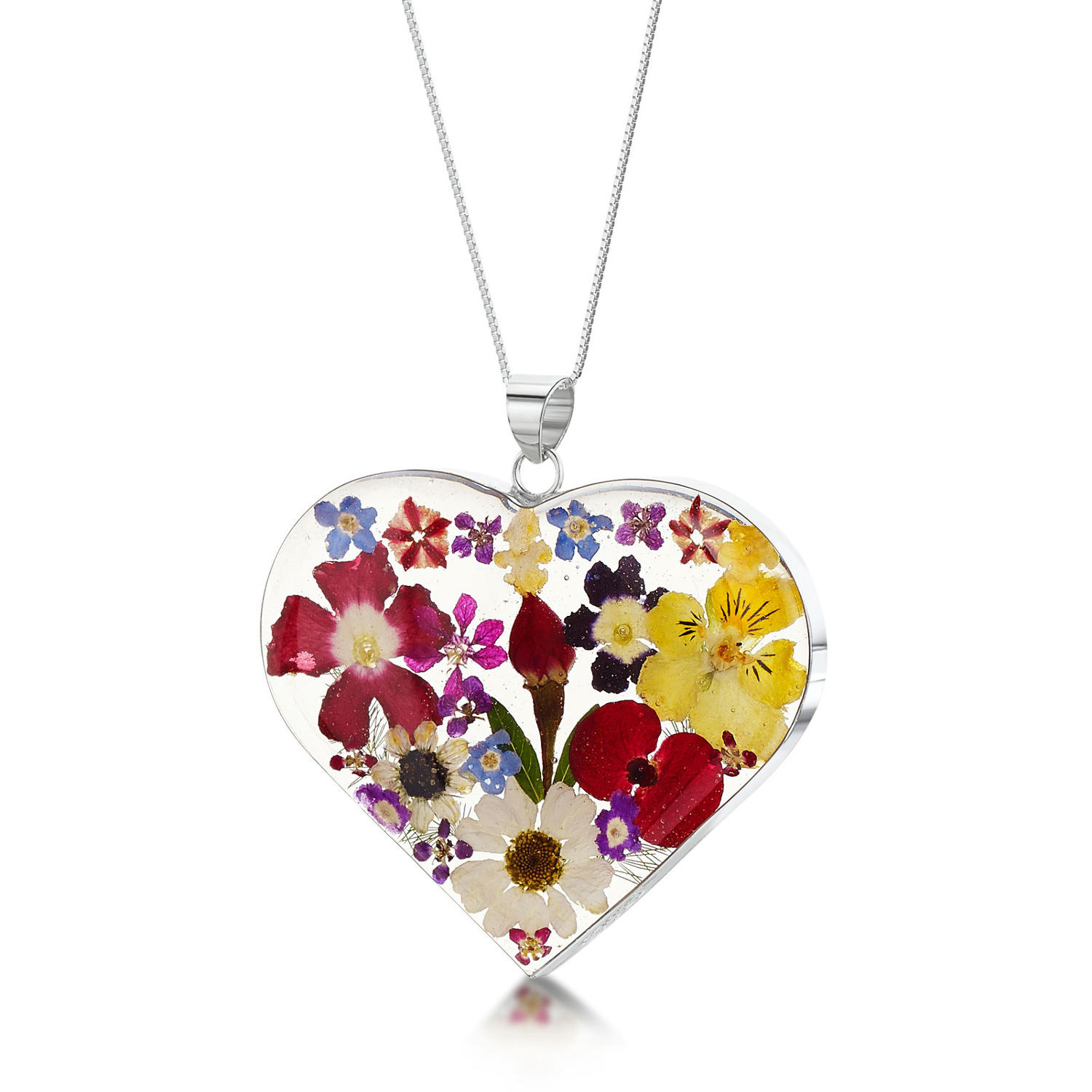 Mixed Flowers Large Heart Pendant