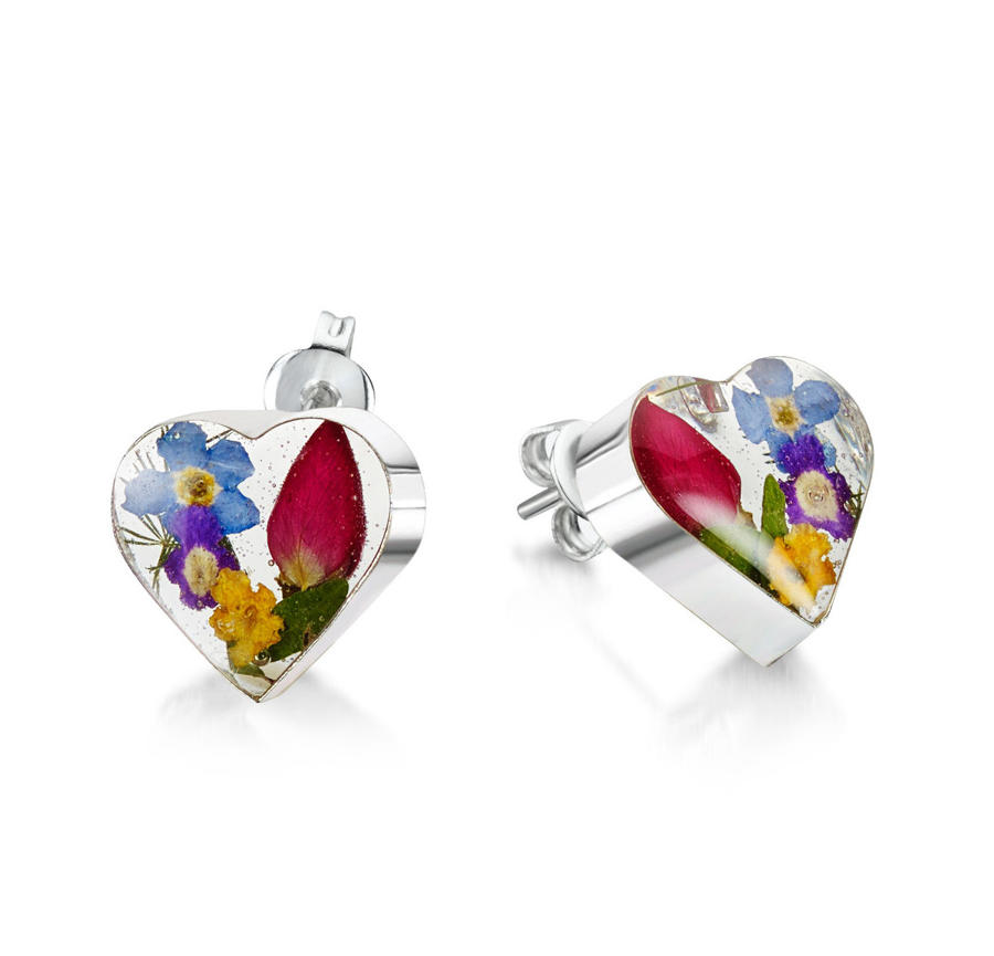 Mixed Flowers Heart Stud Earrings