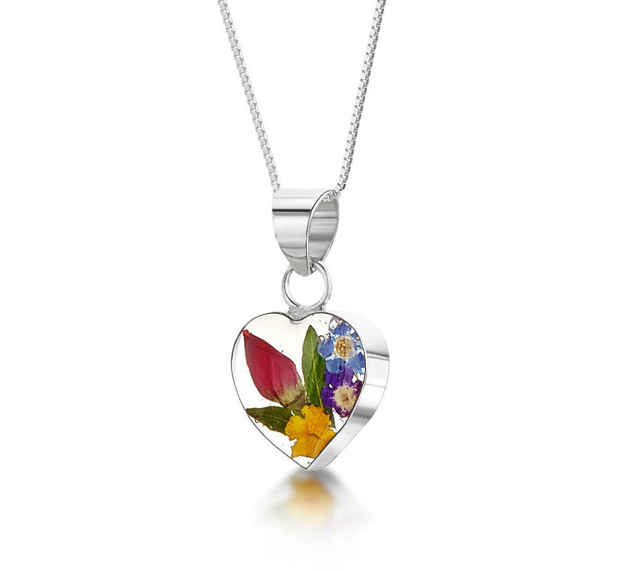 Mixed Flowers Small Heart Pendant