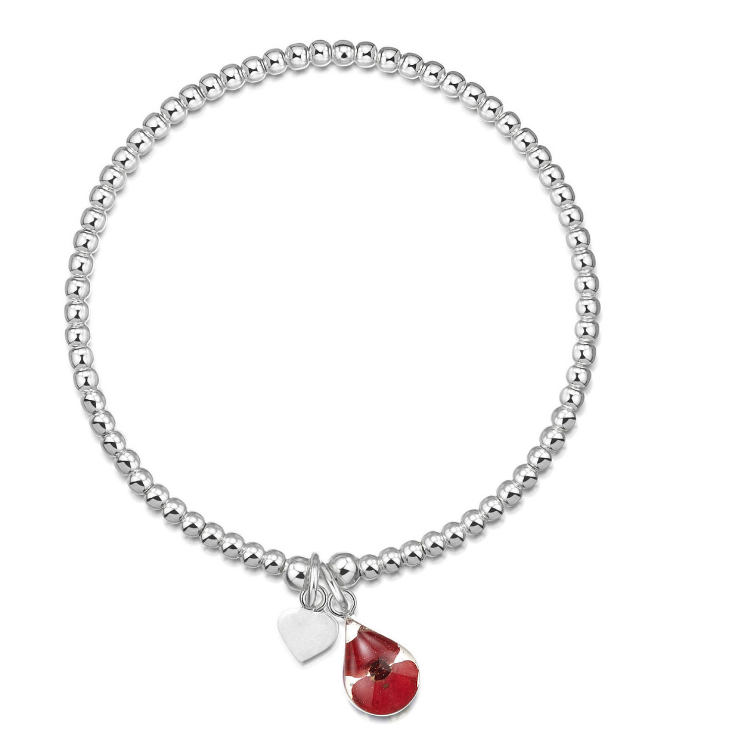 Sterling Silver Poppy Charm Beaded Bracelet