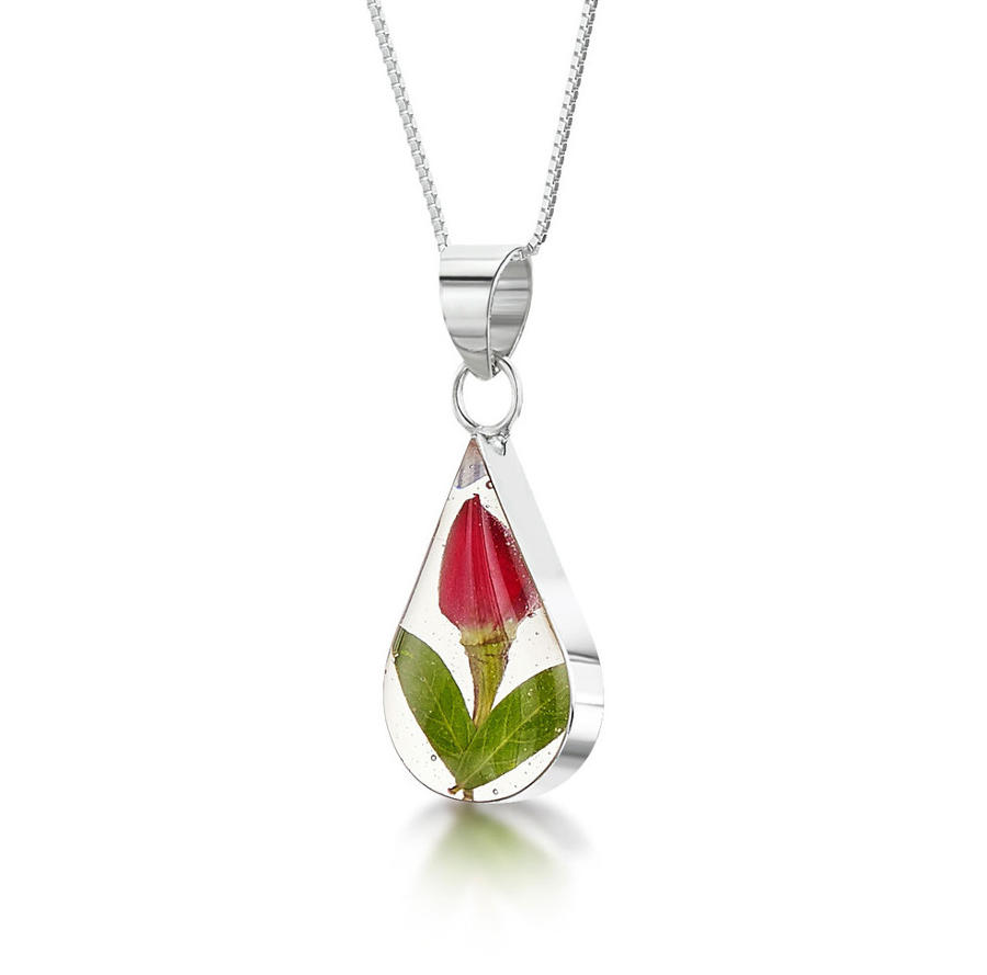 Rose Small Teardrop Pendant