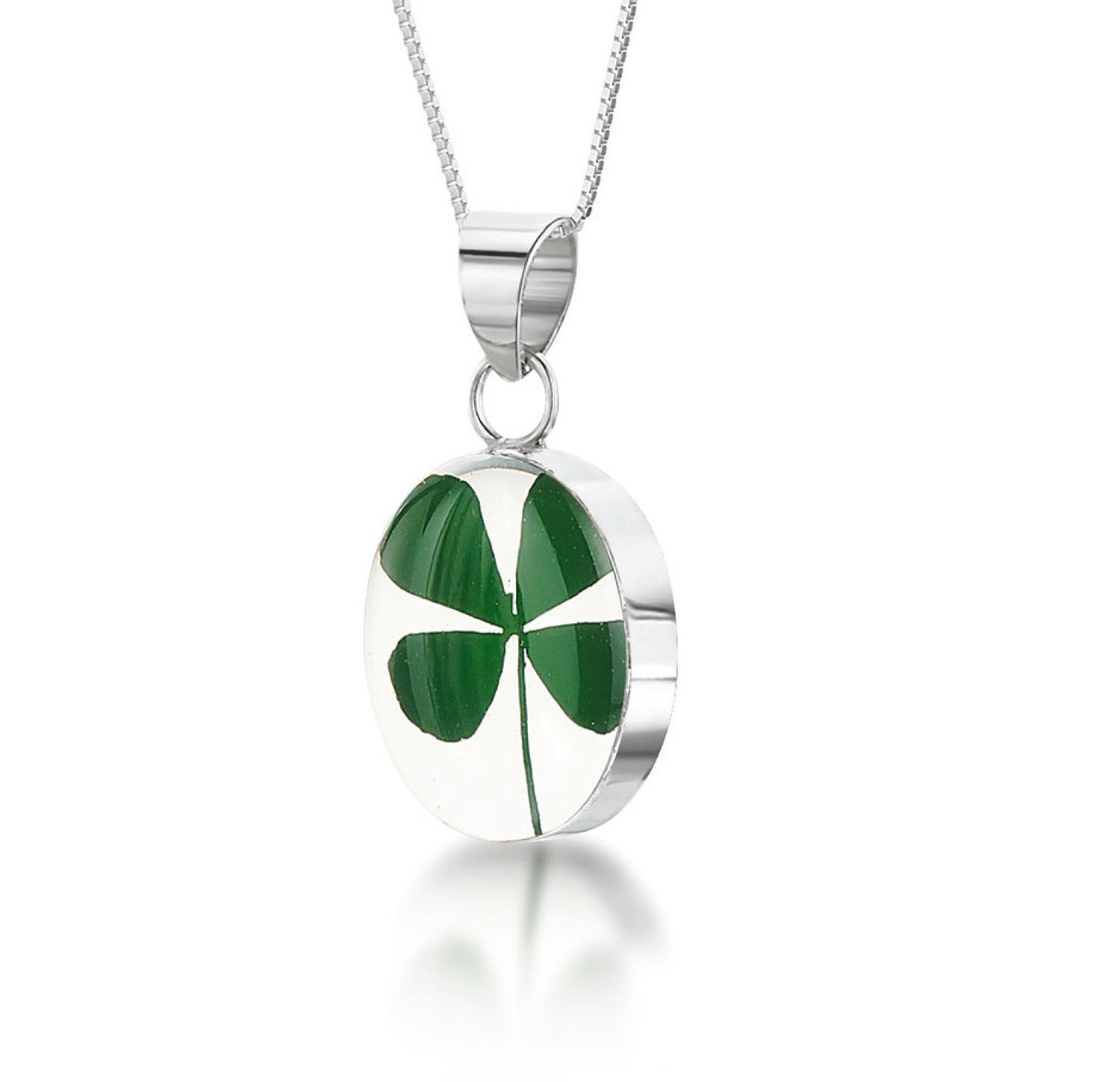 Four Leaf Clover Oval Pendant