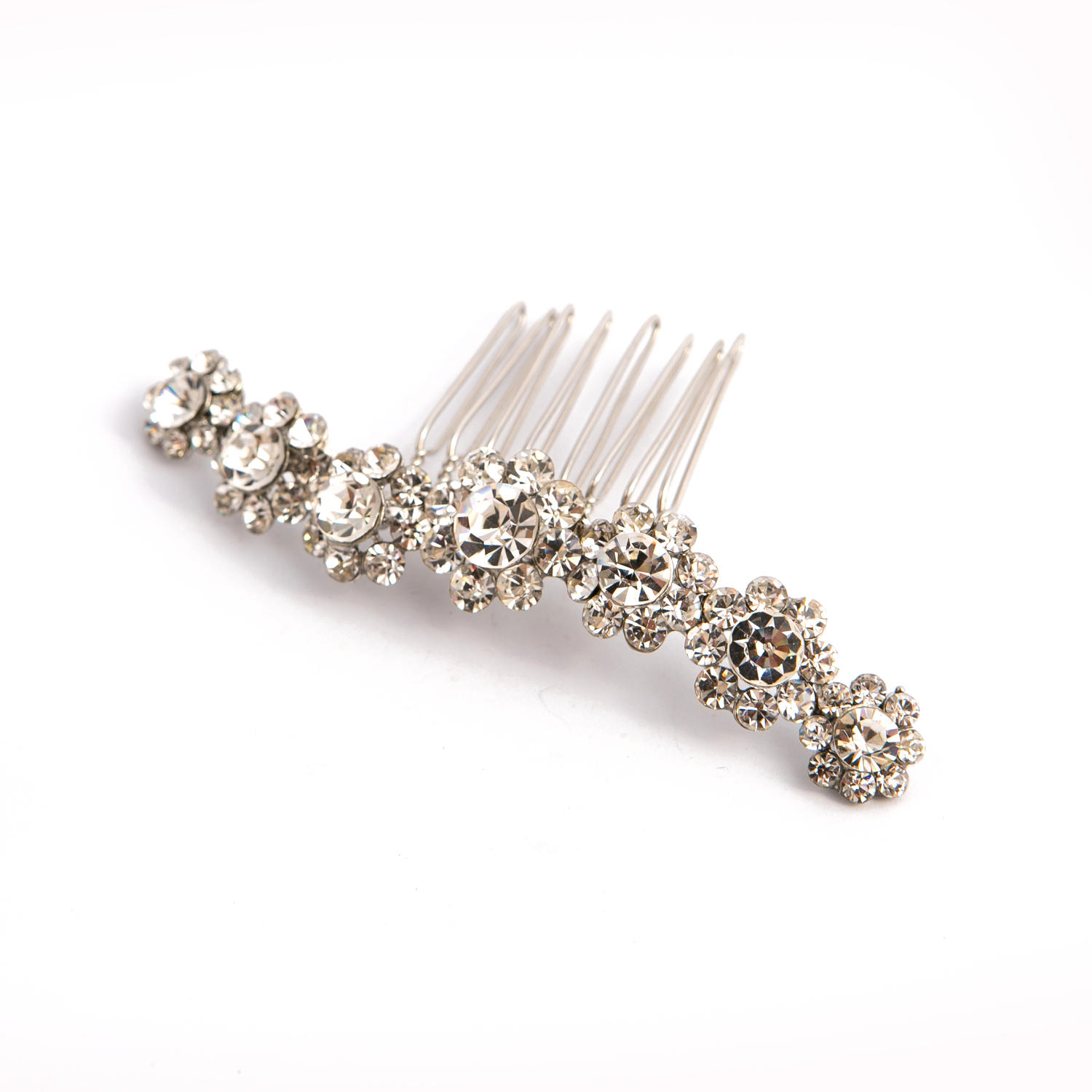 Silver plated Crystal flower Hair Comb