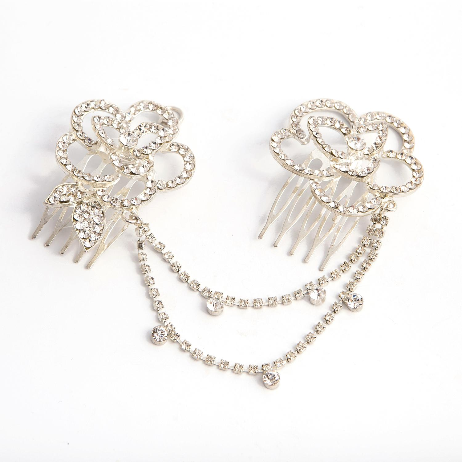 Crystal Set Flower Double Hair Comb