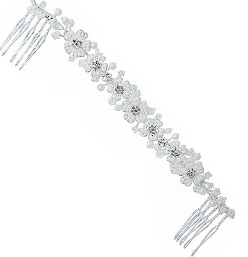 Pearl & Crystal Floral Hair comb