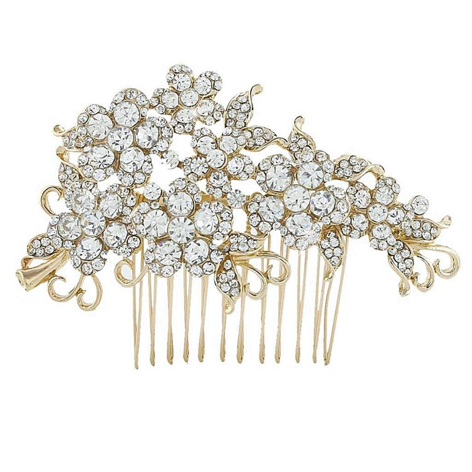 Crystal Flowers Hair Comb