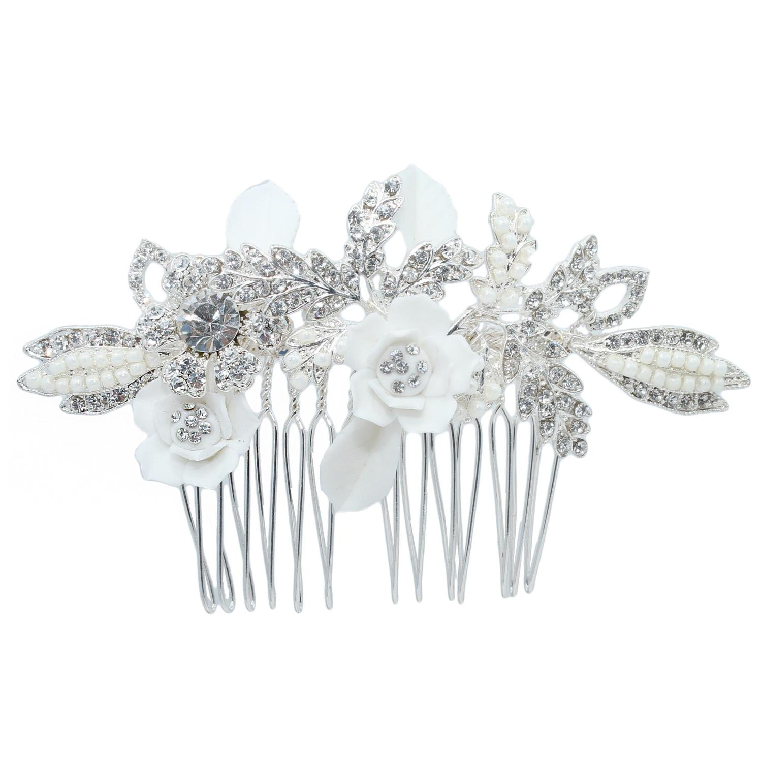 White Flower & Crystal Hair Comb