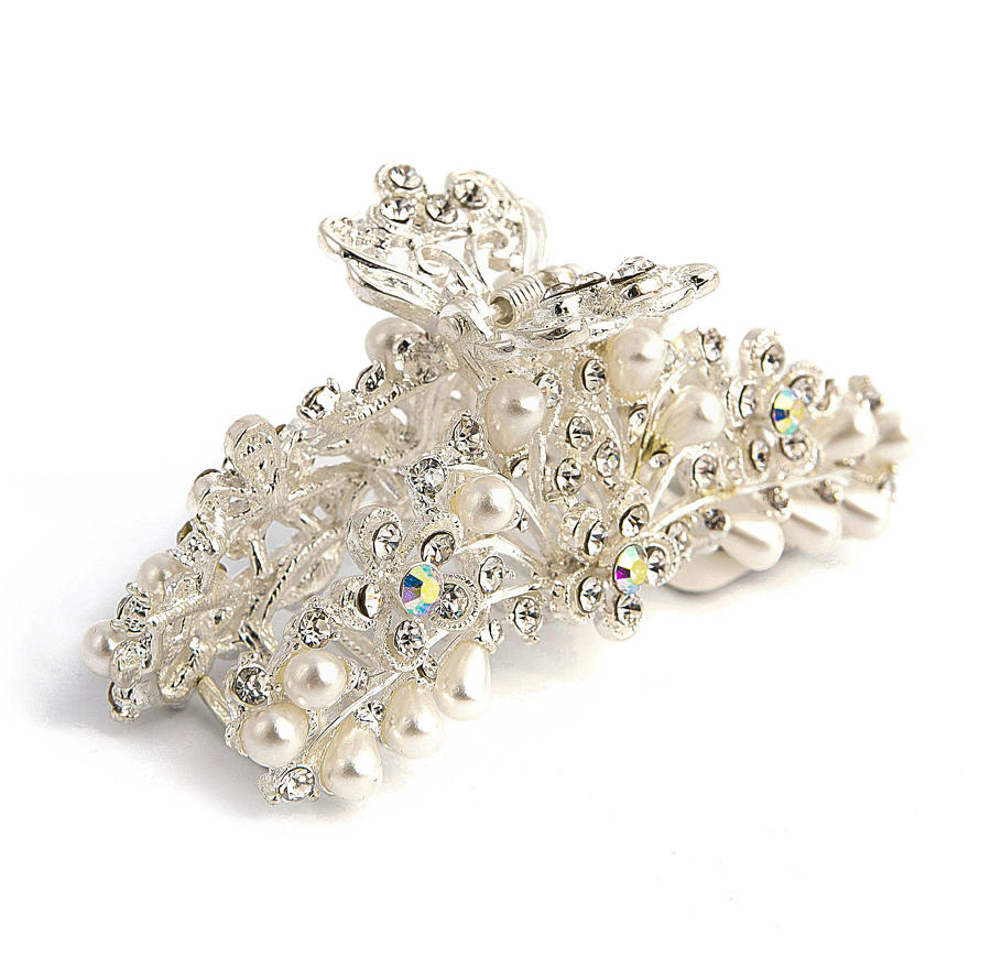 Silver Plated Crystal & Pearl Hair Clip