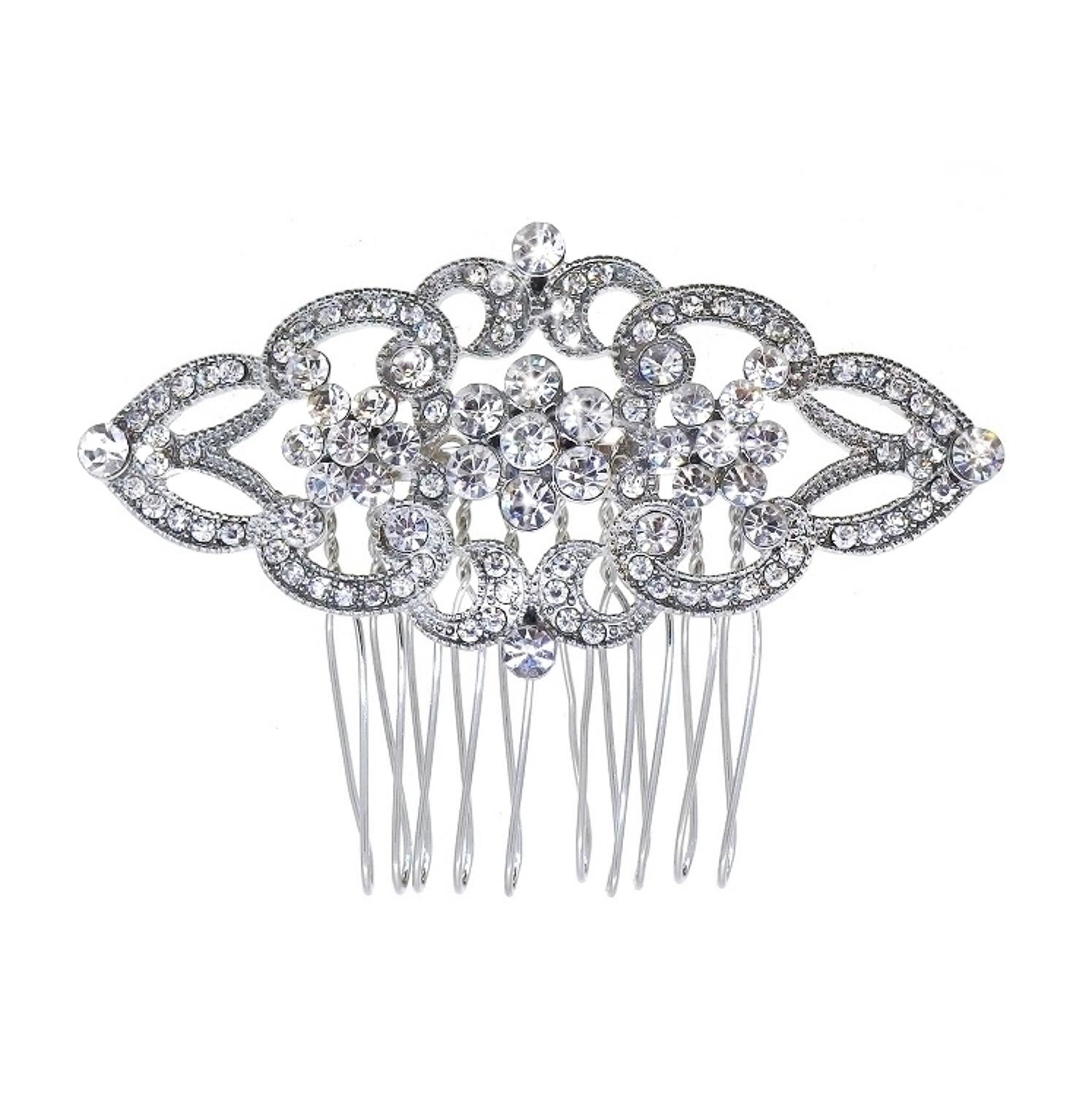 Crystal 3 Flower Design Hair Comb