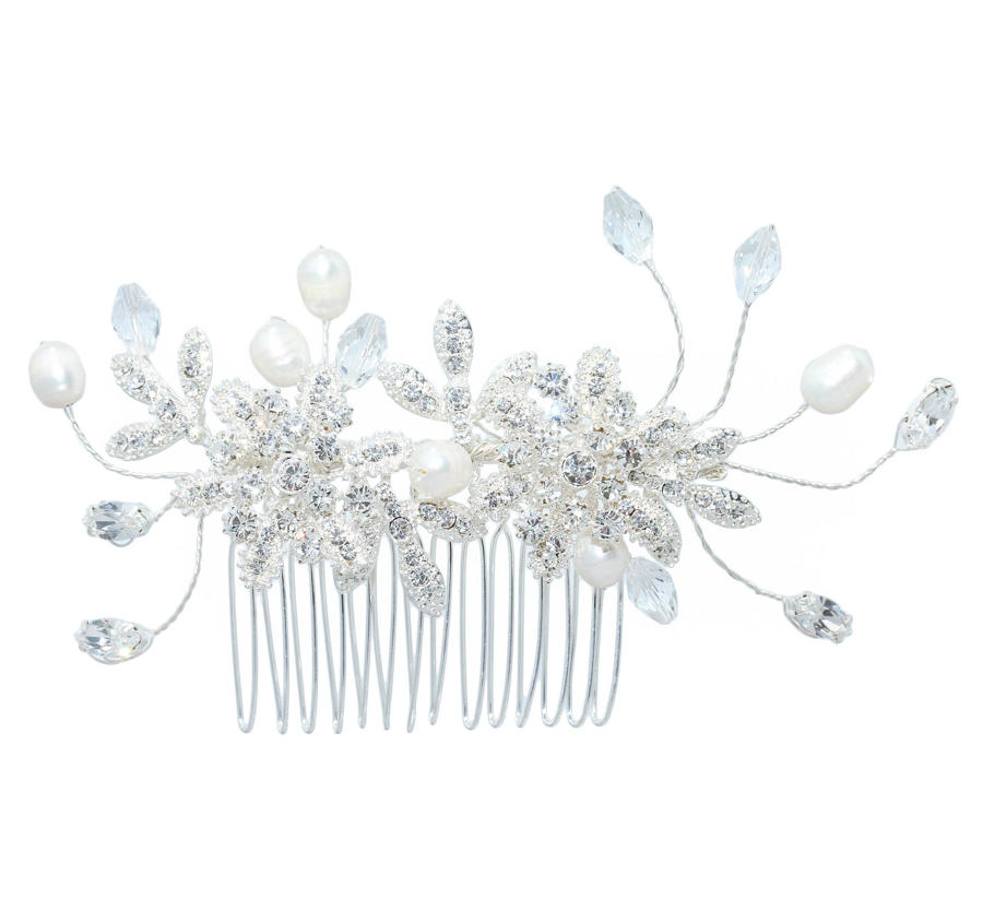 Crystal & Pearl Double Flower Comb