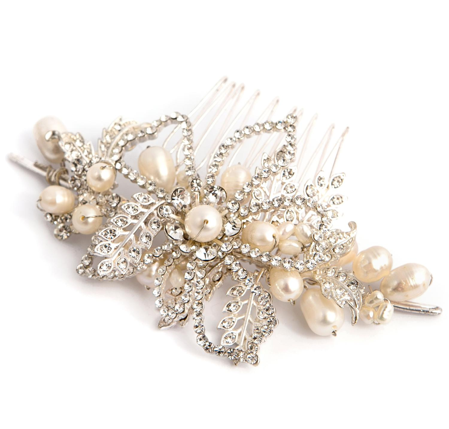 Silver Plated and Freshwater Pearl Hair Comb