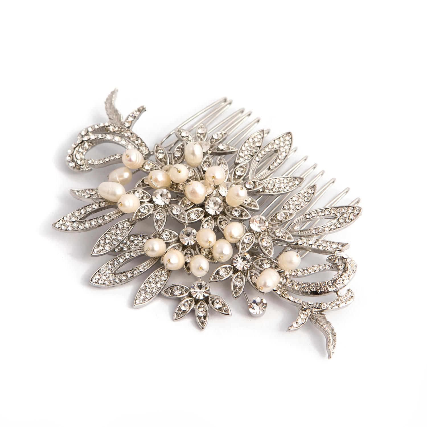 Crystal and Freshwater Pearl Hair Comb