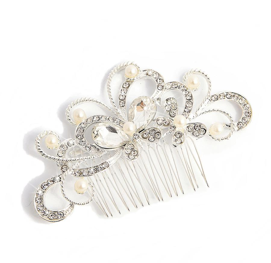 Silver Plated Crystal & Pearl Butterfly Hair