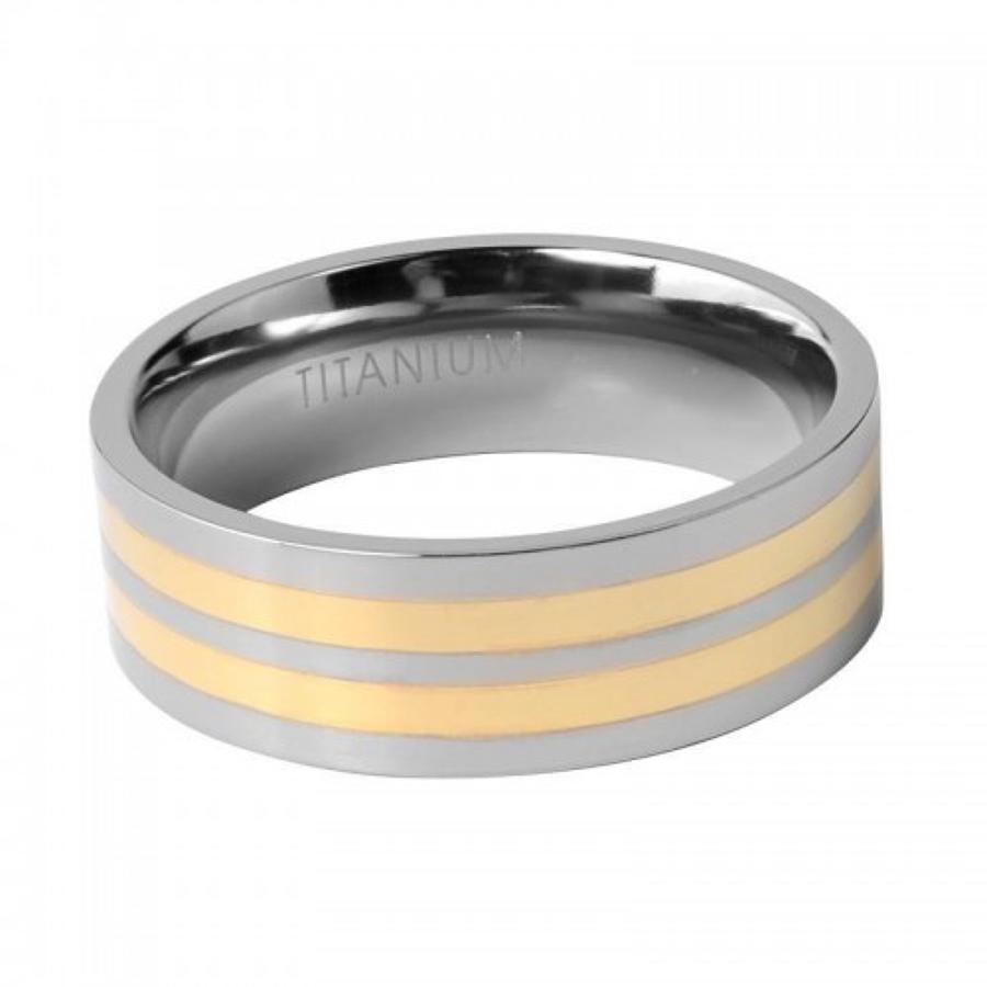 Two Colour Striped Gents Titanium Ring