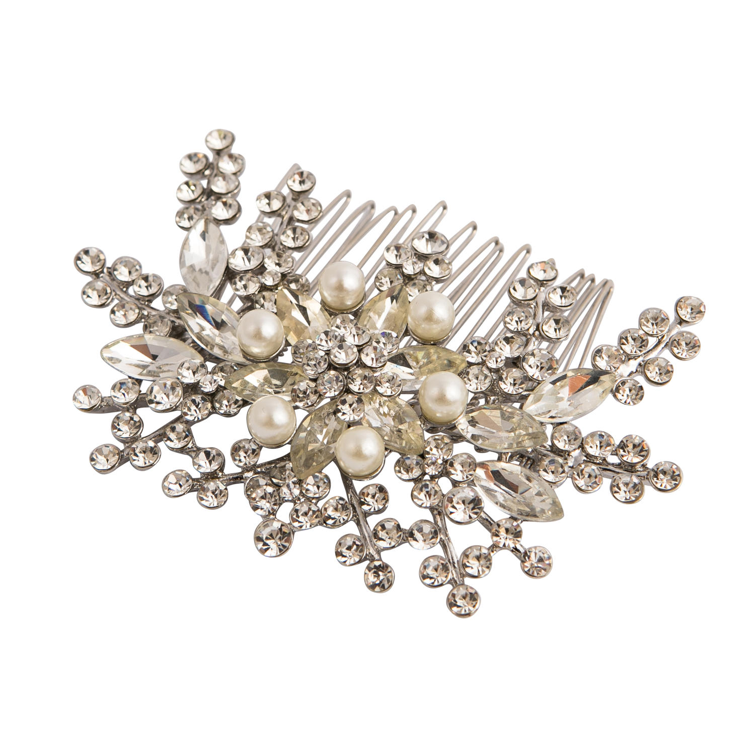 Silver Plated Crystal & Pearl Hair Comb