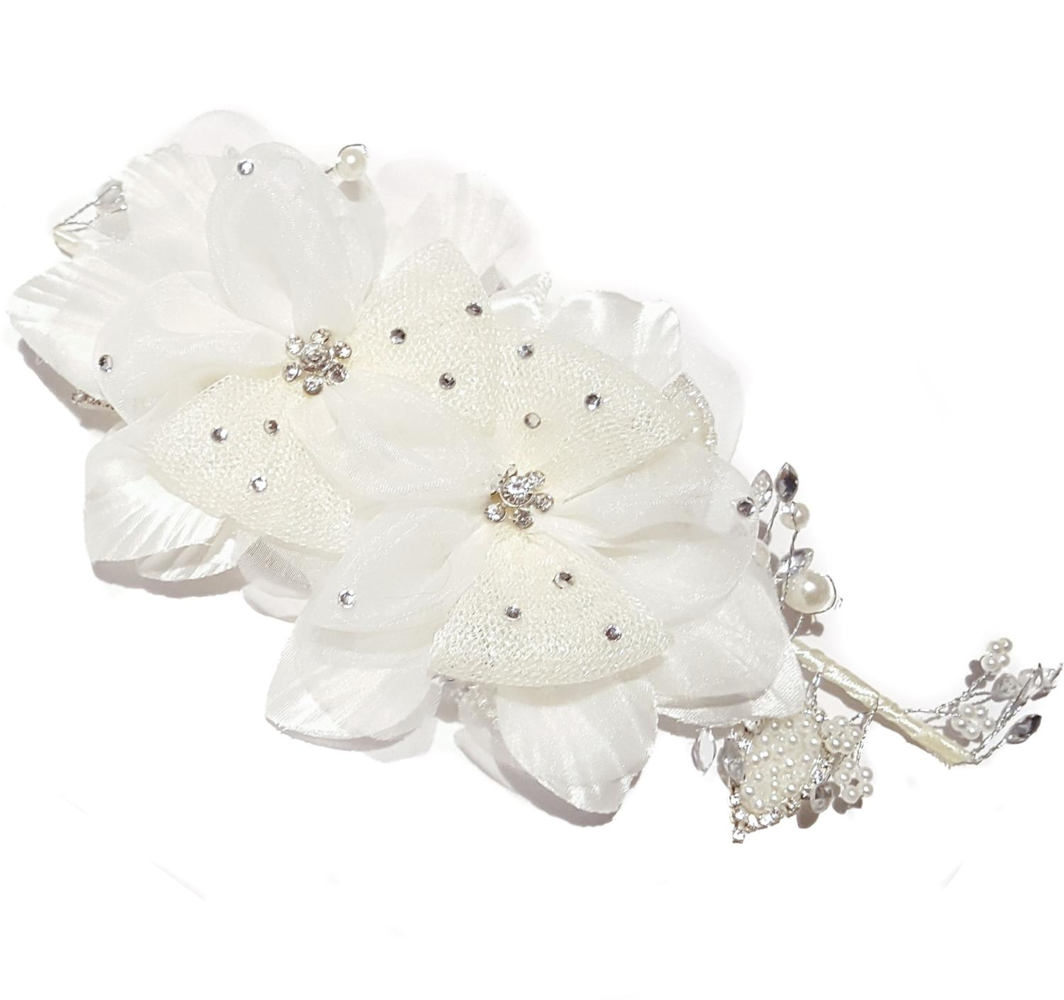 Double White Flower Hair Comb