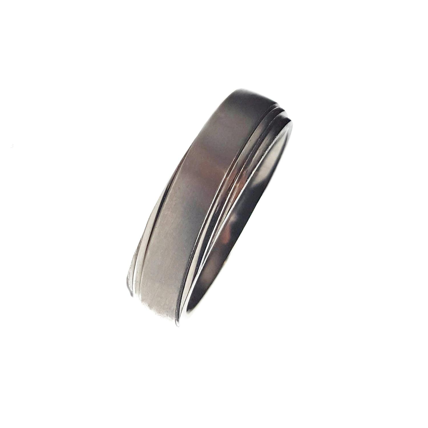 Gents Matt Titanium Ring With Polished Offset Groove