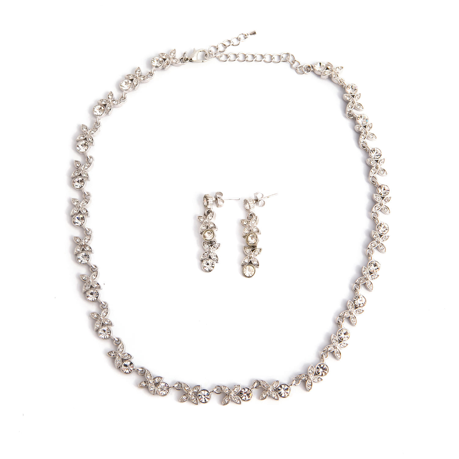 Silver Plated Crystal Flower Necklace Set