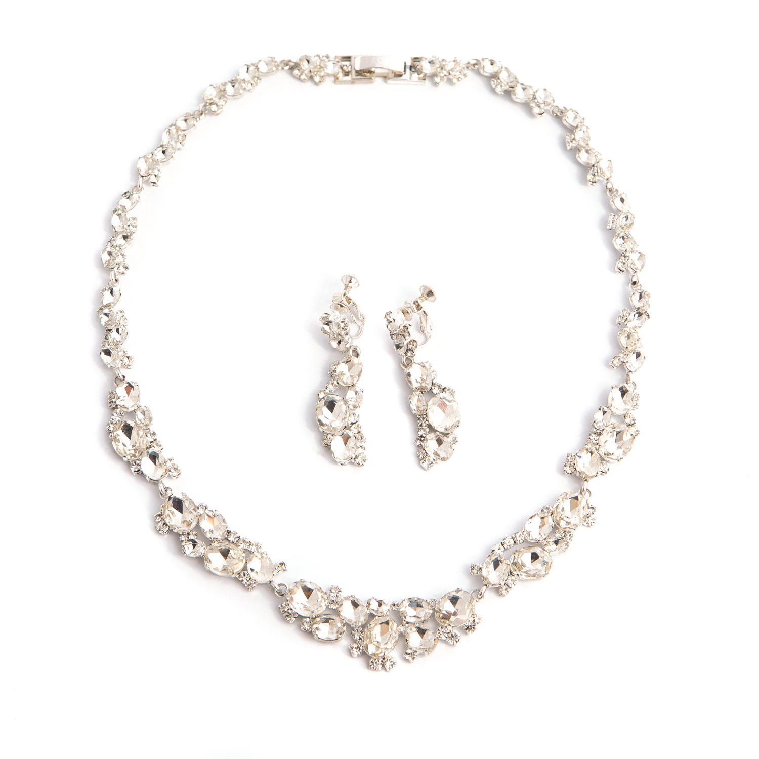 Silver Plated Crystal Necklace & Earring Set