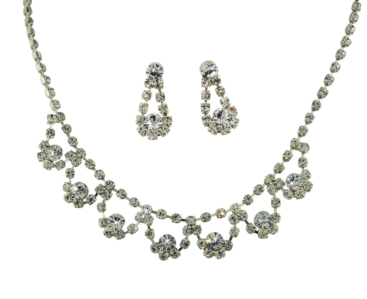 Diamante loop Necklace & Earring Set