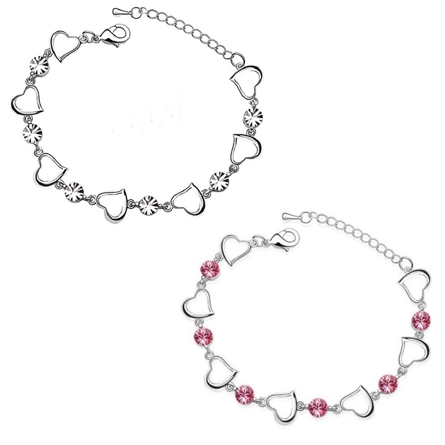 18ct White Gold Plated Heart Crystal Bracelet