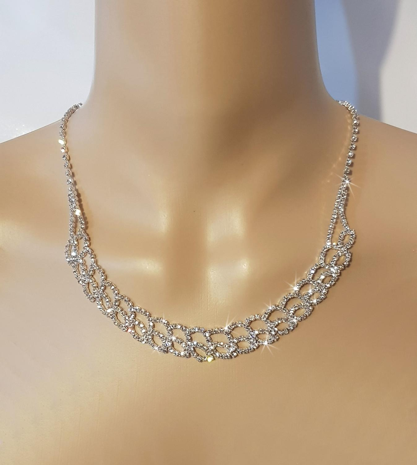 Diamante 2 Row Marquise Necklace & Earrings