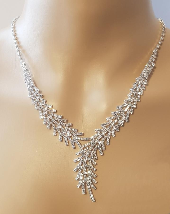 Diamante Feathered Necklace & Earring Set