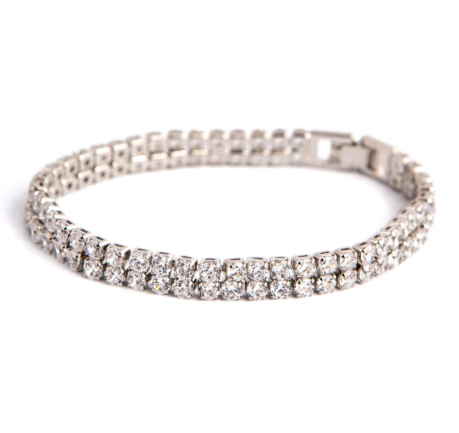 White Gold Plated Diamante 2 Row Tennis Bracelet