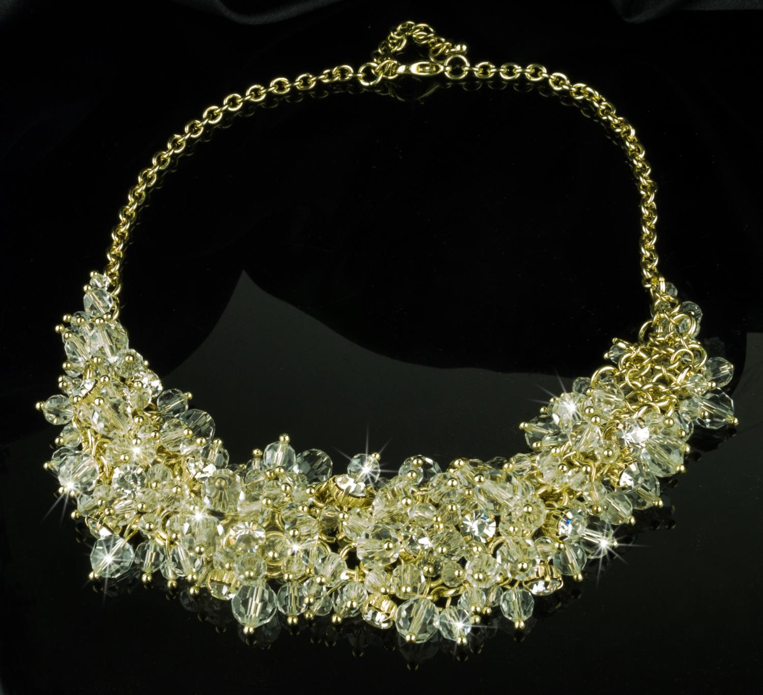 Gold Plated Multi Crystal Necklace