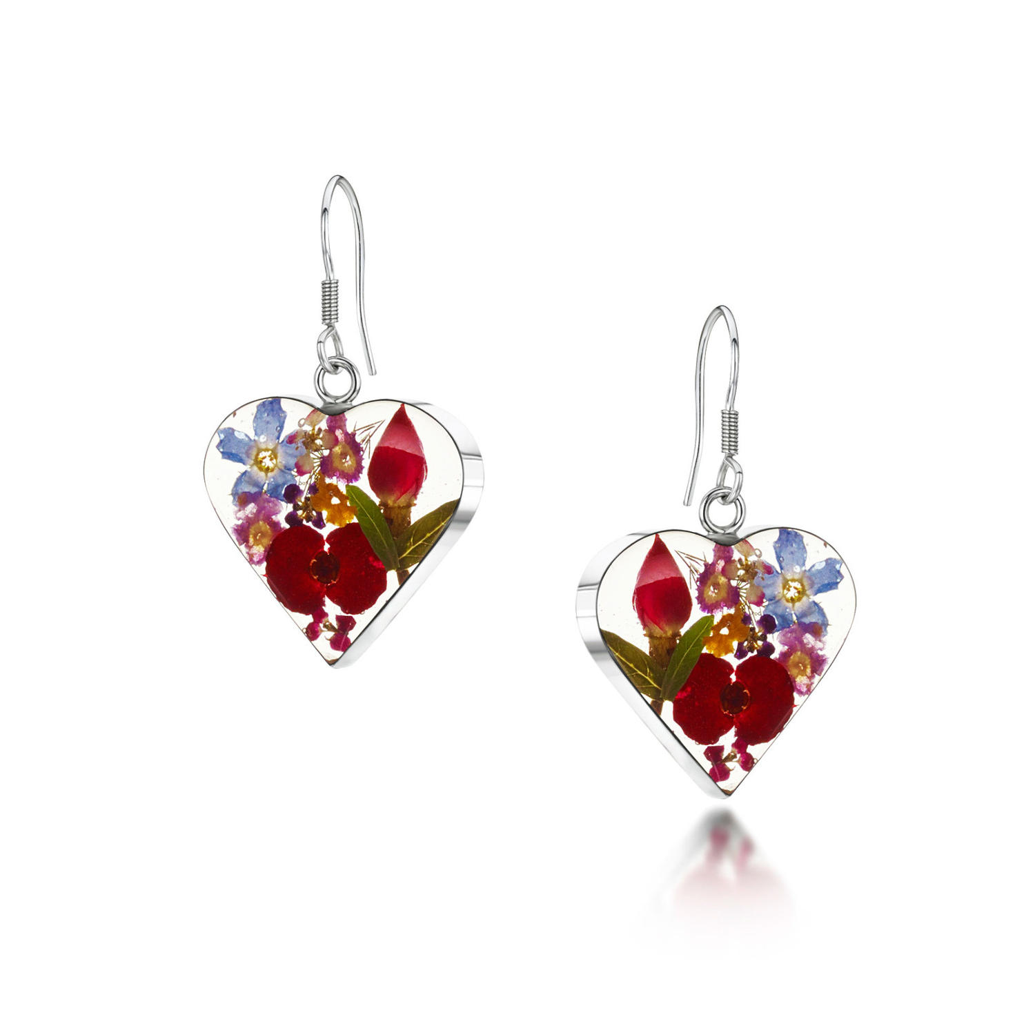 Mixed Flowers Heart Drop Earrings