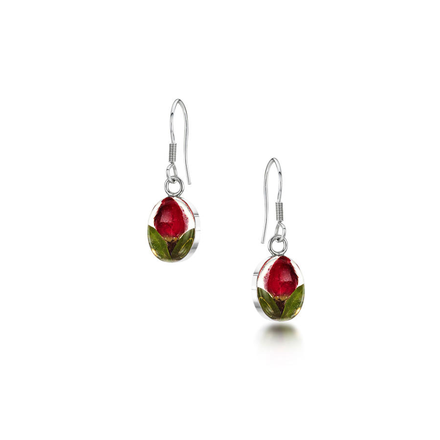Rose Oval Drop Earrings