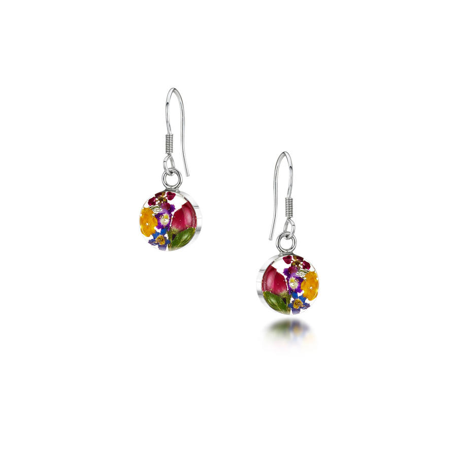 Mixed Flowers Small Round Drop Earrings