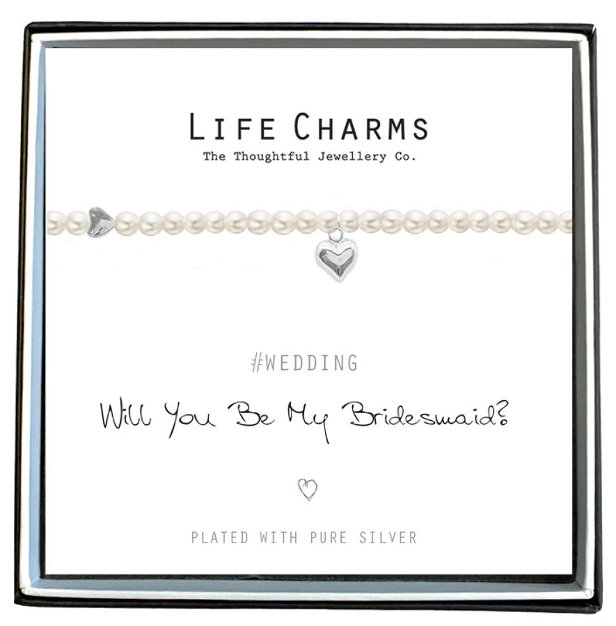 Will You Be My Bridesmaid Pearl & Heart Bracelet