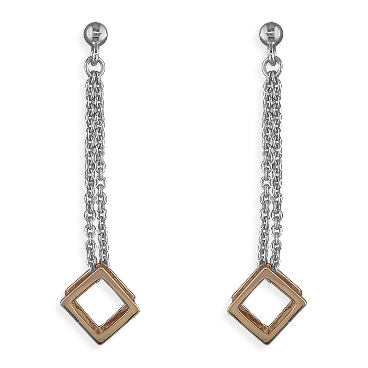 Sterling Silver Rose Gold Plated Cube Drops