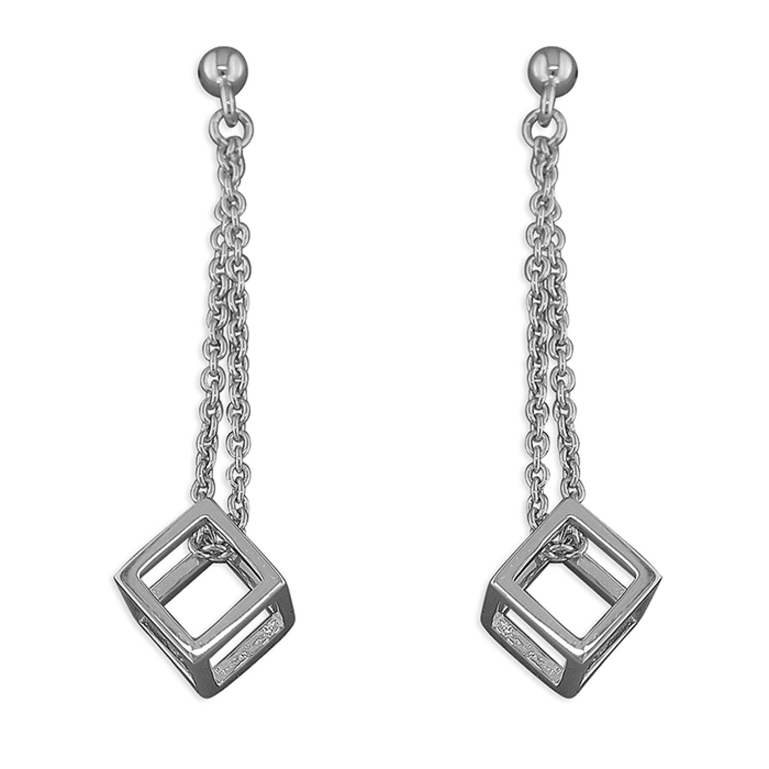 Sterling Silver Cube Drops