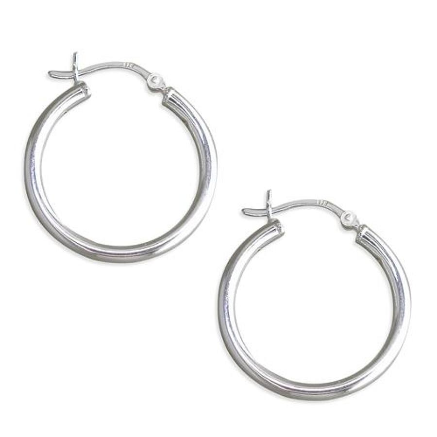 Sterling Silver Medium Tube Plain Hoops