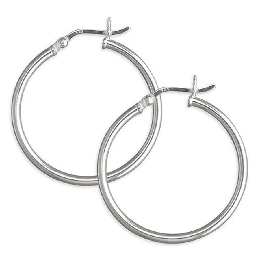 Sterling Silver Narrow Plain Hoops