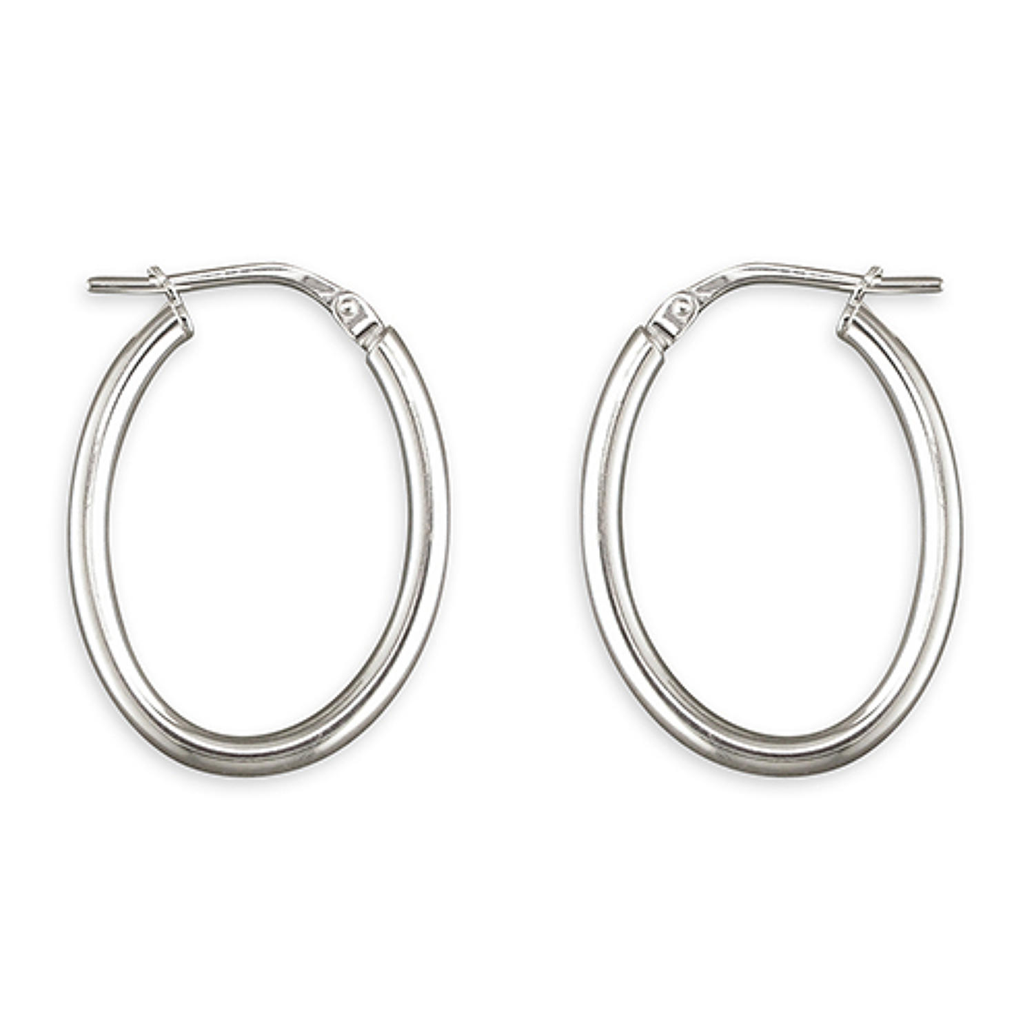 Sterling Silver Small 25mm Plain Oval Hoops