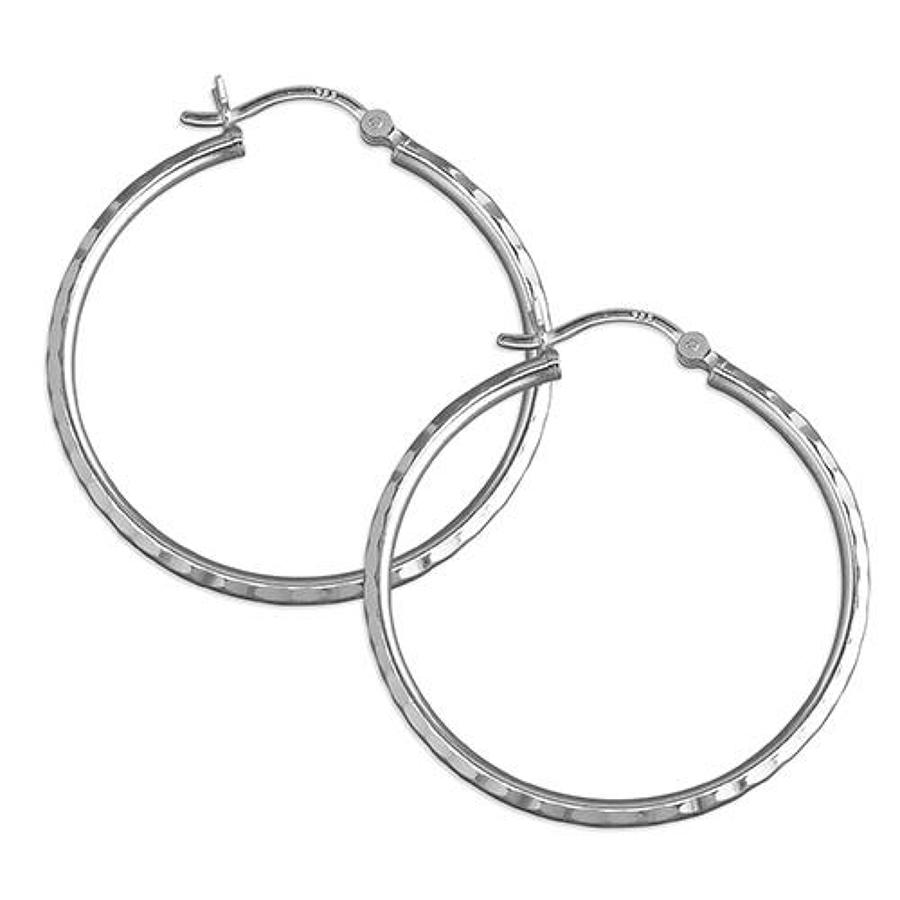 Sterling Silver 3.5cm Diamond Cut Hoops