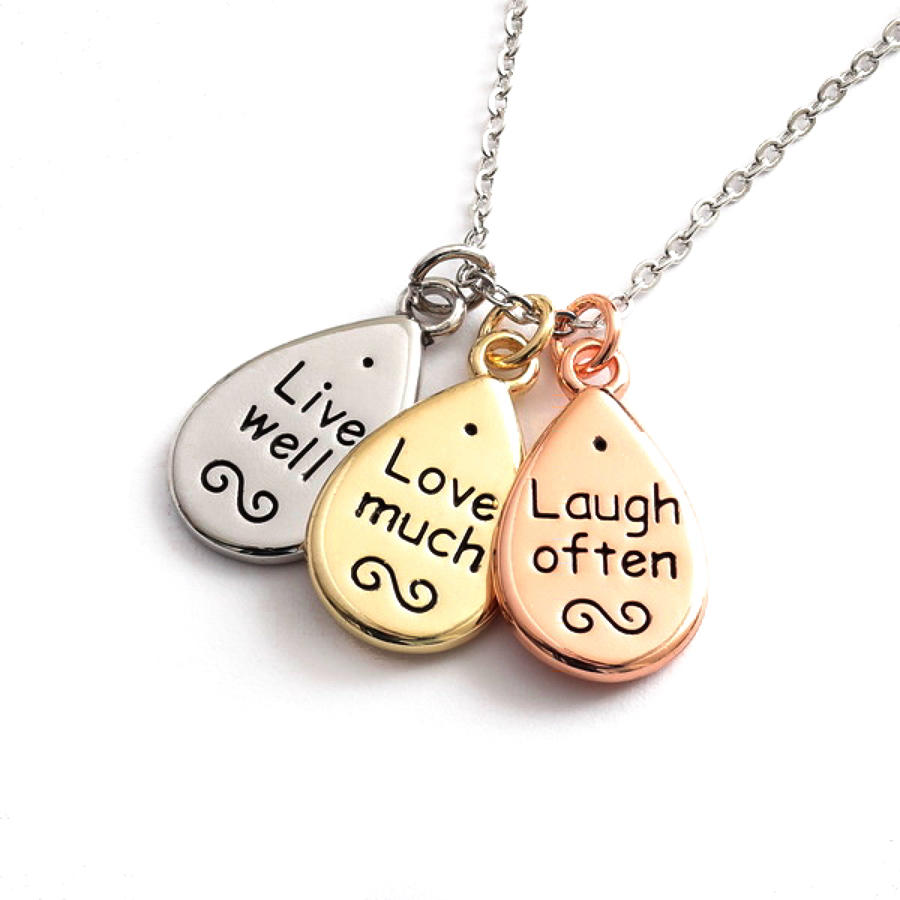 Live, Love, Laugh Sentiments Necklace