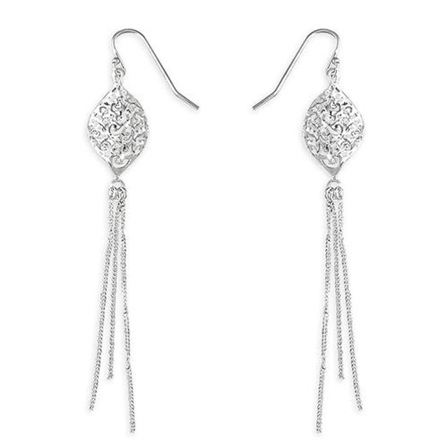 Sterling Silver Diamond Cut Tassel Drops