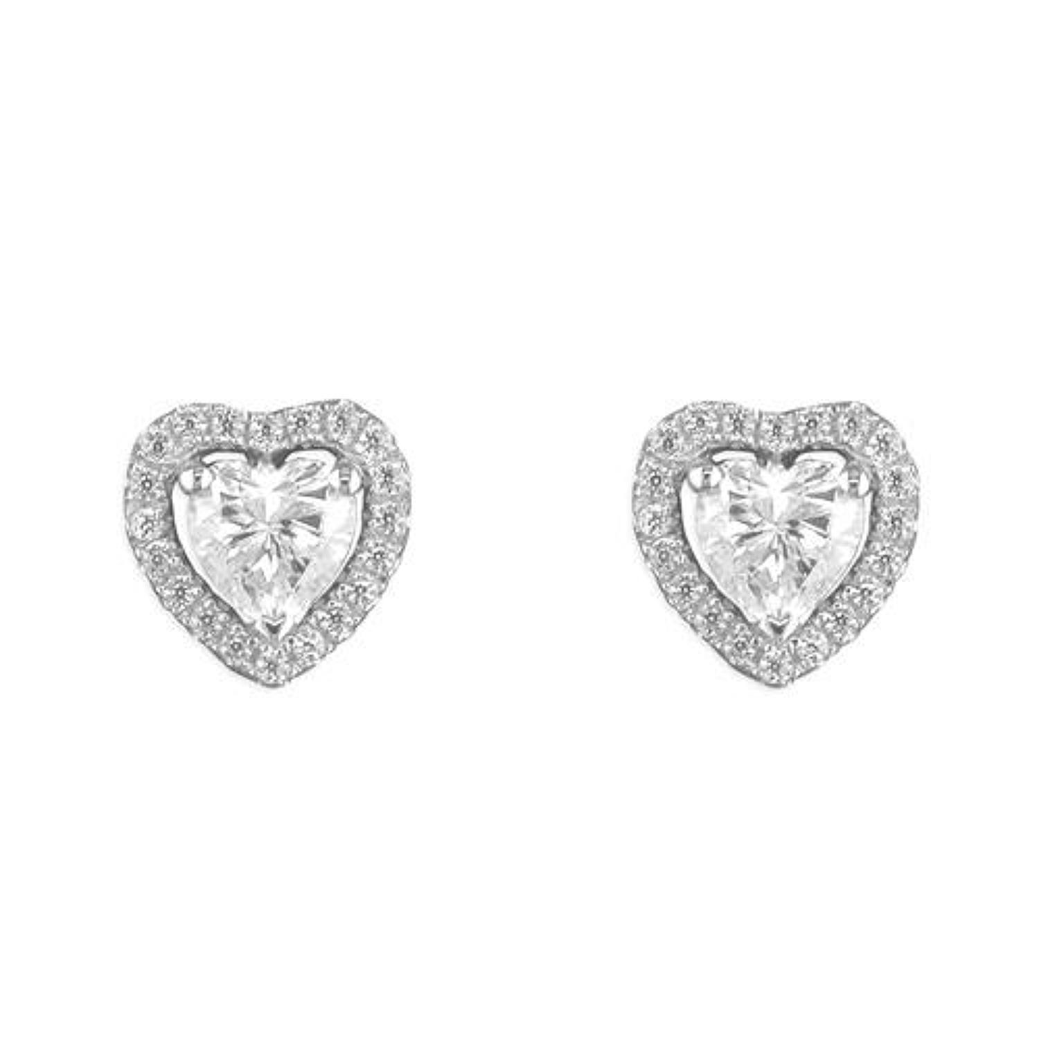 Sterling Silver Cubic Zirconia Heart Cluster