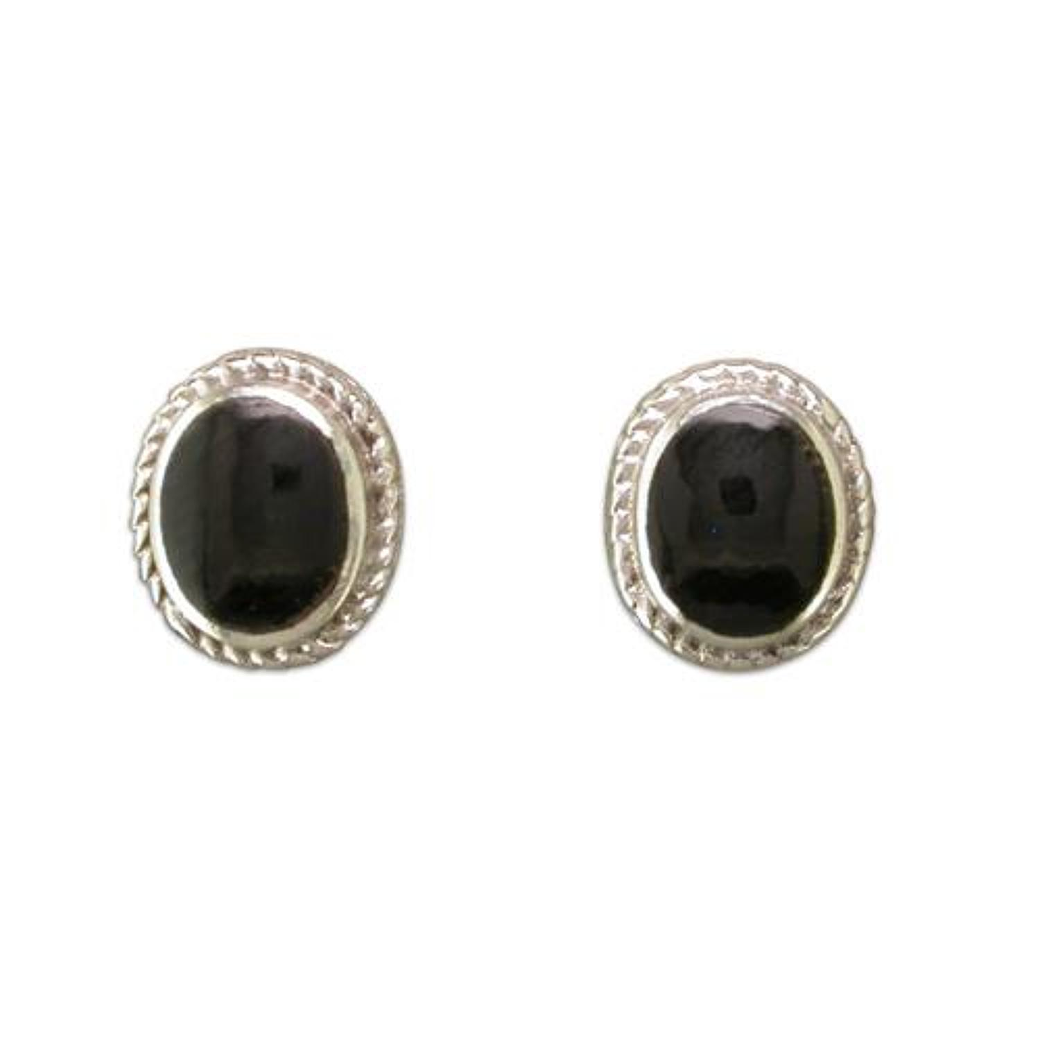 Sterling Silver Synthetic Black Onyx Studs