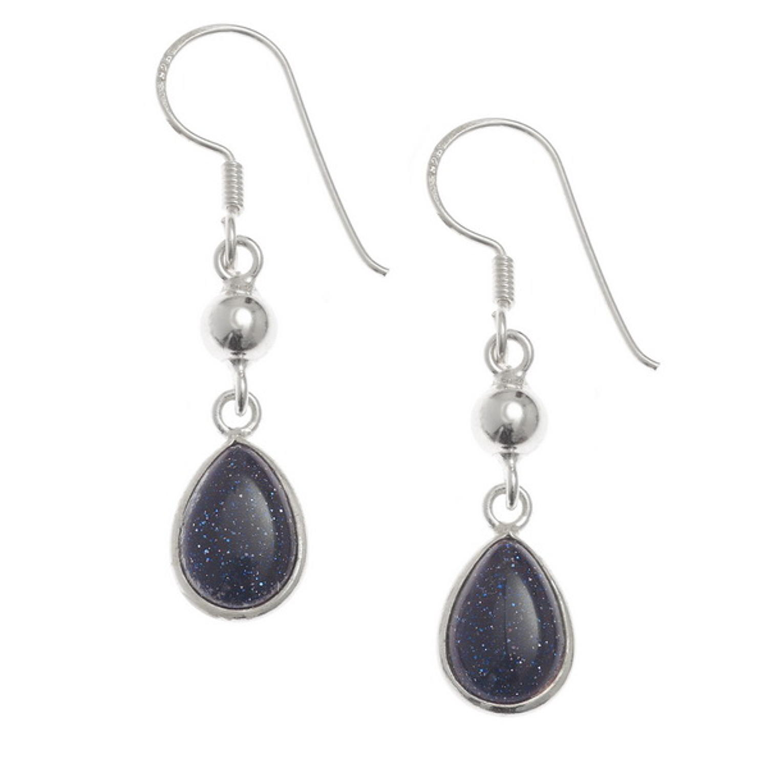 Sterling Silver Blue Goldstone Drops