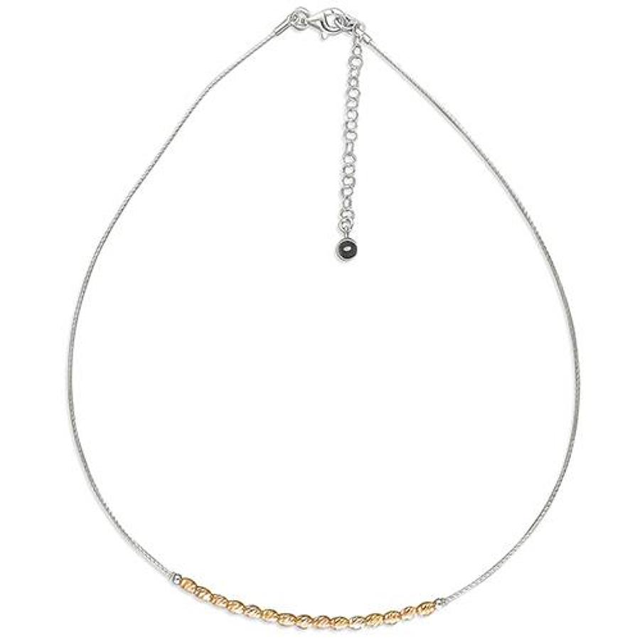 Sterling Silver Rose Gold Plated Beaded Neckl