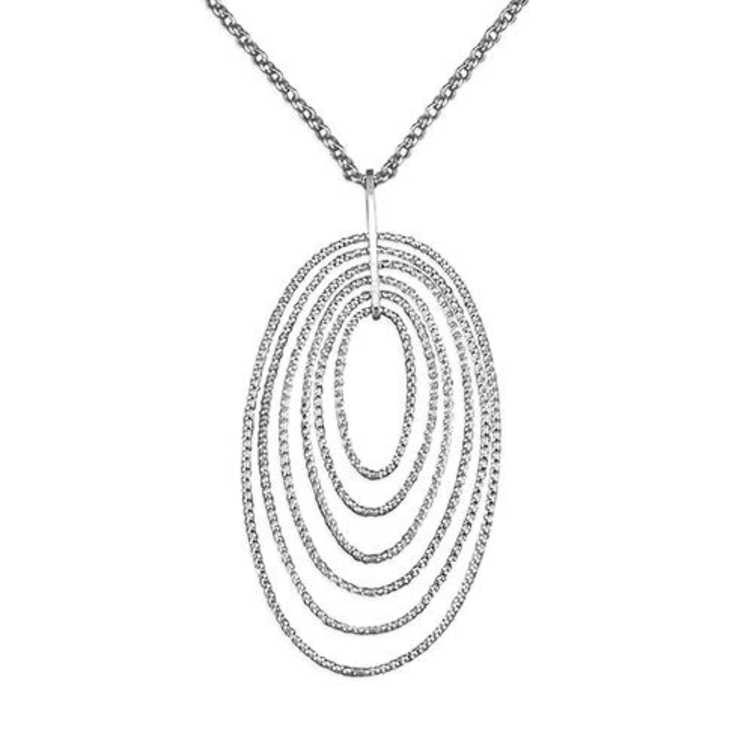 Sterling Silver Multi Oval Sparkle Pendant
