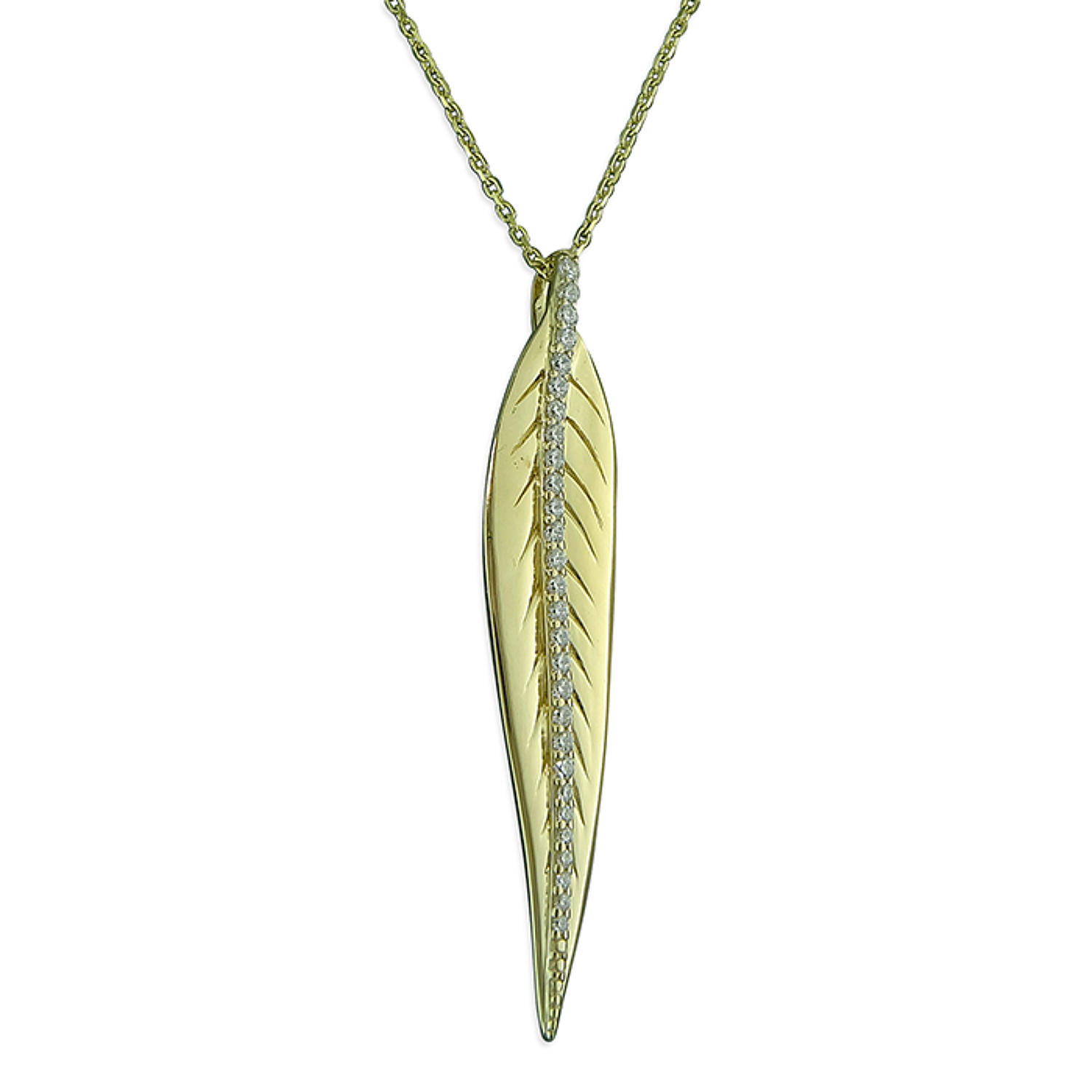 Sterling Silver Gold Plated CZ Set Leaf Penda